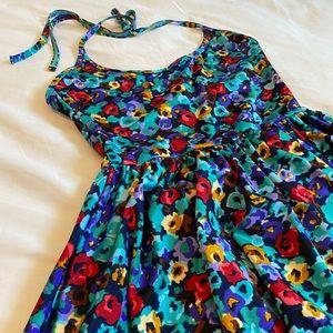 Floral American Apparel Halter Top Dress